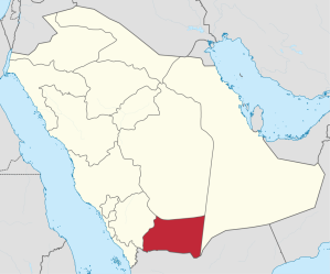 Map of Najran in the Arabian peninsula; image accessed from Wikimedia Commons.