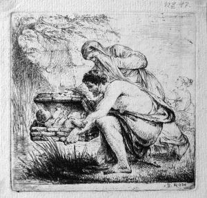 Moses Set Out on the Nile in a Reed Basket. Engraving by Bernhard Rode, ca. 1775; photo accessed via Wikimedia Commons.