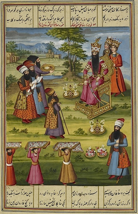 Fath ʻAli Shah Qajar with two princes in attendance, receiving Mirza Riza Quli Munshi al-Mamalik. From the Shahanshah namah by Fath ʻAli Khan Saba. Qajar, dated 1225/1810 (BL IO Islamic 3442, f 64v) - See more at: http://britishlibrary.typepad.co.uk/asian-and-african/persian-digital-manuscripts/page/2/#sthash.2J13YOq0.dpuf (http://britishlibrary.typepad.co.uk)