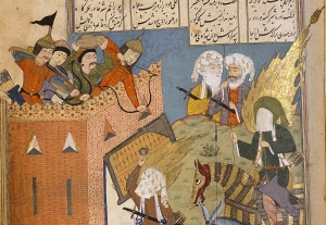 Detail from Athār al-Muẓaffar (The Exploits of the Victorious), Iran, 16th c. (Chester Beatty Library Per 235, f. 132a; from Persian Miniatures, V. Loukonin and A. Ivanov (Parkstone International, 2014), 145).